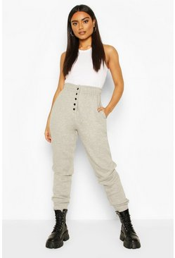 Grey marl Popper Front Loopback Joggers