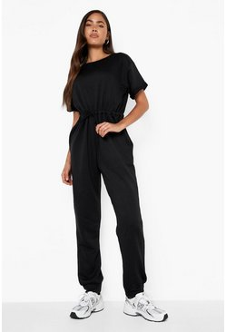Womens Black Loopback Drawcord Waist Jumpsuit