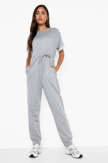 Grey marl Loopback Drawcord Waist Jumpsuit