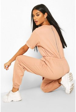 Womens Rose Loopback Drawcord Waist Jumpsuit