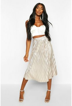 Womens Rose gold Metallic Pleated Midi Skirt