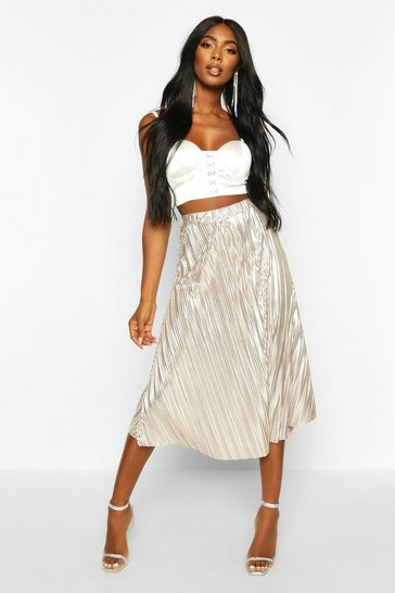 Rose gold Metallic Pleated Midi Skirt