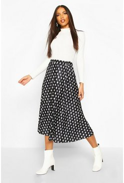 Black Plisse Polka Dot Skater Skirt
