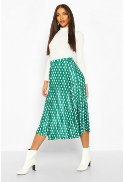 Womens Emerald Plisse Polka Dot Skater Skirt