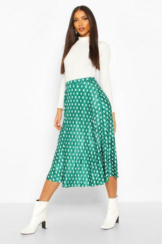 Plisse Polka Dot Skater Skirt