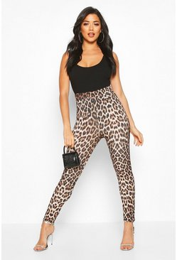 Womens Ruched Bum Leopard Print Leggings