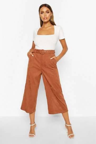 Womens Tan Cord Self Belt Culottes