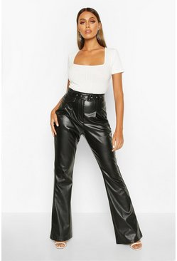Black Leather Look Flared Trouser