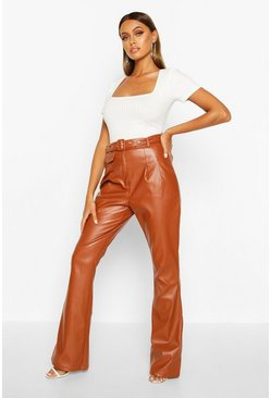 Tan Leather Look Flared Pants
