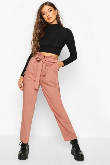 Womens Rose Paperbag Waist Cargo Trousers