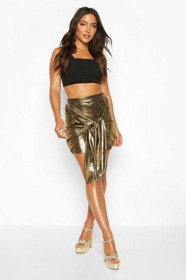 Gold Metallic Drape Front Mini Skirt