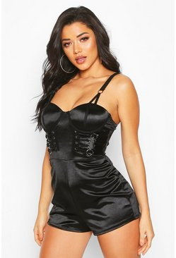 Black Stretch Satin Lace Up Playsuit