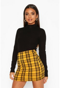 Womens Yellow Checked Jersey Mini Skirt