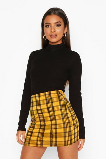 Womens Yellow Checked Jersey Mini Skirts