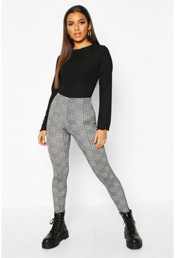 Womens Black Mini Dogtooth Check Basic Jersey Leggings