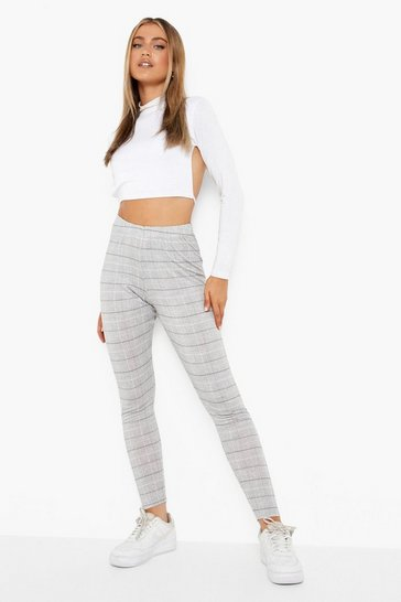Womens Black Mini Dogtooth Basic Jersey Leggings