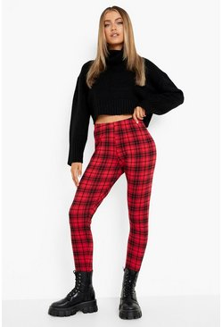 Womens Red Tartan Check Basic Jersey Leggings