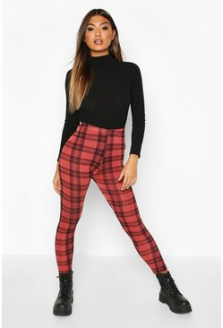 Womens Berry Checked Basic Jersey Leggings