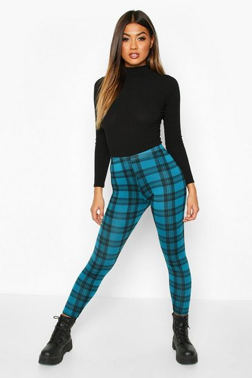 Emerald Checked Basic Jersey Leggings