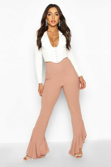 Womens Rose Ruffle Hem Slim Fit Trousers