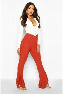 Rust Ruffle Hem Slim Fit Pants