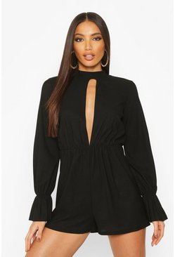 Womens Black Split Front Flared Sleeve High Neck Playsuit