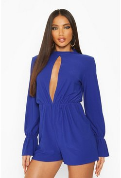 Womens Royal Split Front Flared Sleeve High Neck Playsuit