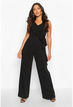 Black Asymetric Ruffle Wide Leg Jumpsuit