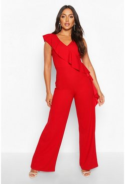 Red Asymetric Ruffle Wide Leg Jumpsuit