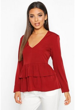Womens Berry Plunge Double Ruffle Smock Top