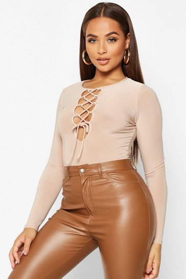 Womens Stone Slinky Lace Up Long Sleeve Bodysuit