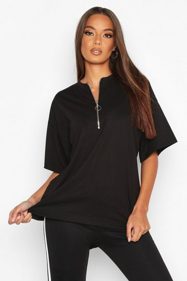 Womens Black Zip Detail Oversized T-Shirt