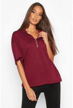 Womens Wine Zip Detail Oversized T-Shirt