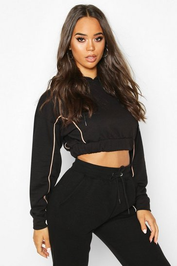 Black Piping Detail Cropped Hoody