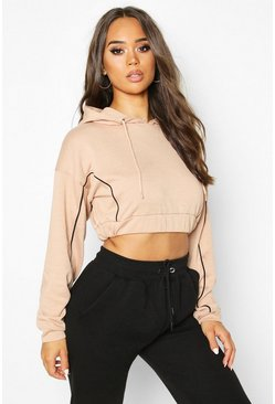 Womens Camel Piping Detail Cropped Hoody