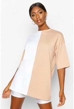 Womens Camel Contrast Colourblock T-Shirt