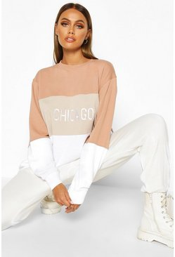 Womens Nude Oversized Embroidered Colourblock Slogan Sweat
