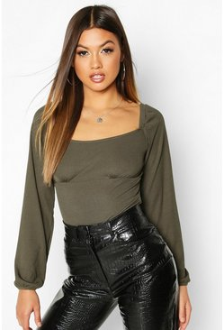 Dam Khaki Square Neck Puff Sleeve Rib Top