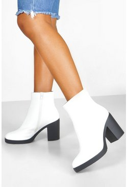 Womens White Wide Fit Block Heel Shoe Boots