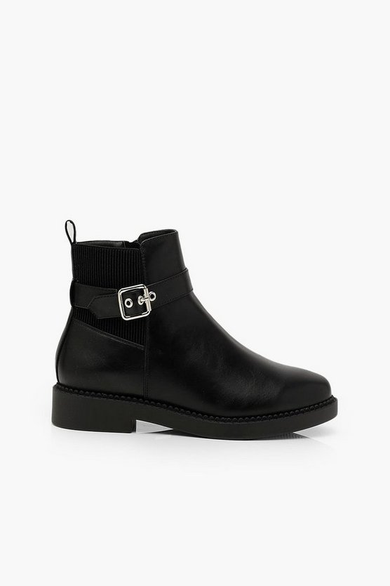 Wide Fit Belt Strap Chunky Sole Chelsea Boots