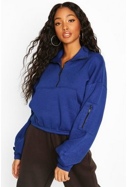 Cobalt Zip Front High Neck Sweat