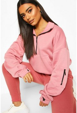 Rose Zip Front High Neck Sweat