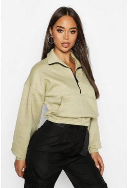Womens Sage Zip Front High Neck Sweat