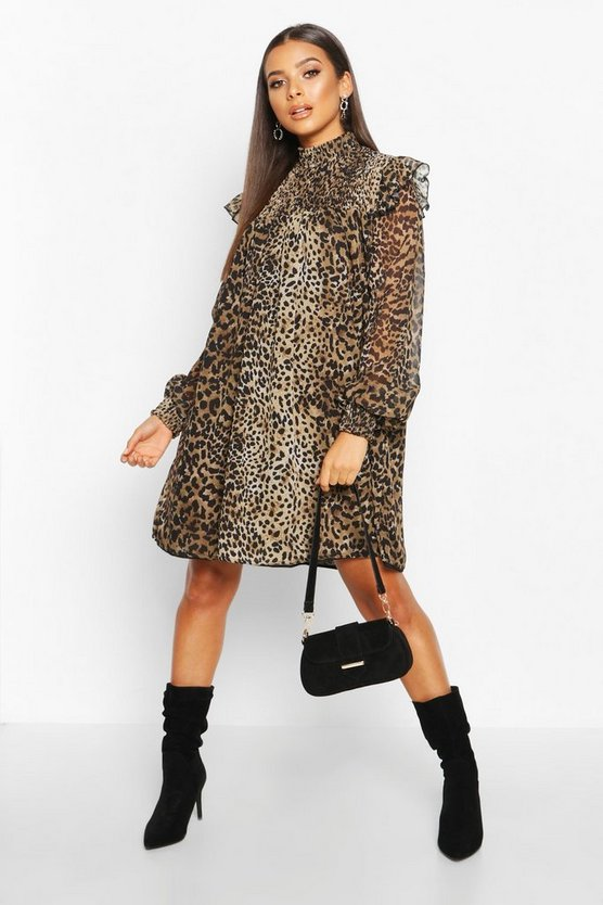 Leopard High Neck Shirred Top Swing Dress