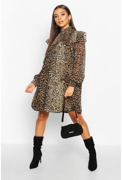 Womens Leopard High Neck Shirred Top Swing Dress