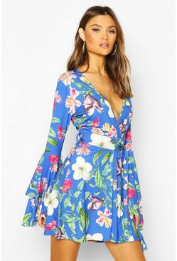 Womens Cobalt Floral Wrap Double Sleeve Skater Dress
