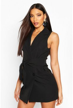Womens Black Longline Self Belt Sleeveless Blazer