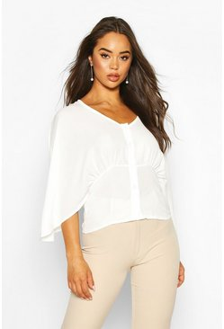 Ivory Flared Sleeve Button Through Woven Blouse