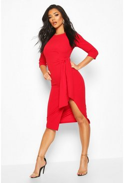 Womens Red Knot Detail Midi Dress