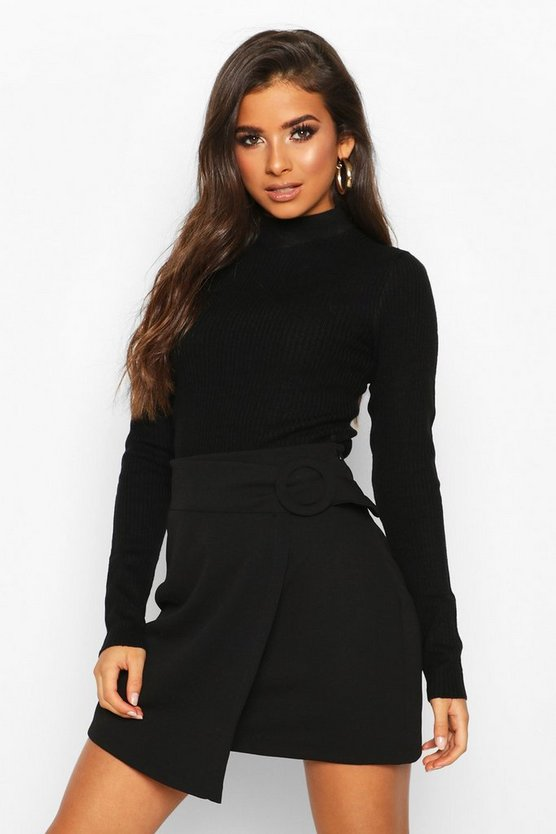 Buckle Detail Wrap Mini Skirt